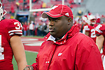 Wisconsin Badgers assistant coach Thomas Hammock looks on during warmups prior to an NCAA Big Ten Conference college football game against the Penn State Nittany Lions on November 26, 2011 in Madison, Wisconsin. The Badgers won 45-7. (Photo by David Stluka)