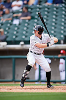 Birmingham Barons right fielder Mason Robbins (20) at bat during a game against the Jacksonville Jumbo Shrimp on April 24, 2017 at Regions Field in Birmingham, Alabama.  Jacksonville defeated Birmingham 4-1.  (Mike Janes/Four Seam Images)