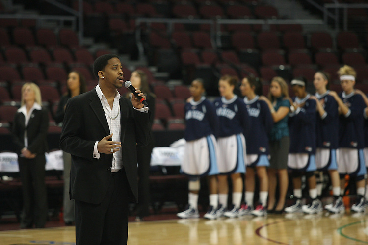 LAS VEGAS, NV - MARCH 5:  The national anthem during Santa Clara's 68-67 win over the USD Toreros in the 2010 Zappos West Coast Conference Women's Basketball Championships on March 5, 2010 at Orleans Arena in Las Vegas Nevada.