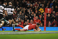 Wales Josh Adams scores his sides fifth try and second of the game<br /> <br /> Photographer Ian Cook/CameraSport<br /> <br /> 2019 Autumn Internationals - Wales v Barbarians - Saturday 30th November 2019 - Principality Stadium - Cardifff<br /> <br /> World Copyright © 2019 CameraSport. All rights reserved. 43 Linden Ave. Countesthorpe. Leicester. England. LE8 5PG - Tel: +44 (0) 116 277 4147 - admin@camerasport.com - www.camerasport.com