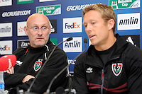Bernard Laporte, RC Toulon Head Coach (left) with Jonny Wilkinson of RC Toulon, during the Captain's Run press conference before the Heineken Cup Final at the Aviva Stadium, Dublin on Friday 17th May 2013 (Photo by Rob Munro).