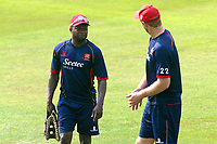 Donovan Miller of Essex in conversation with Paul Walter during Essex CCC vs Warwickshire CCC, Specsavers County Championship Division 1 Cricket at The Cloudfm County Ground on 20th June 2017