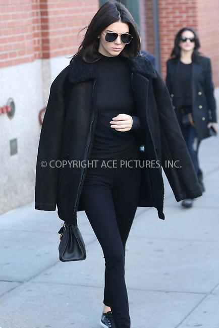 WWW.ACEPIXS.COM<br /> <br /> November 8 2015, New York City<br /> <br /> Model Kendall Jenner leaving her Soho apartment on November 8 2015 in New York City<br /> <br /> By Line: Zelig Shaul/ACE Pictures<br /> <br /> <br /> ACE Pictures, Inc.<br /> tel: 646 769 0430<br /> Email: info@acepixs.com<br /> www.acepixs.com
