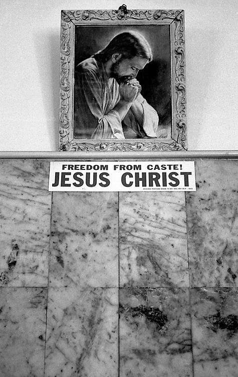 """2006 Chennai(Tamil Nadu)<br /> <br /> Portrait of Jesus in a walkl of a guest house.<br /> <br /> Portrait de Jesus sur le mur d'une guest house(""""liberez vous des castes  JESUS CHRIST """")"""