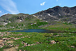 July 26, 2016 - Aspen, Colorado, U.S. -  Independence Lake is one of several alpine lakes found along the Lost Man Trail in the Hunter-Fryingpan Wilderness Area which is a popular hike especially during wildflower season near Aspen, Colorado.