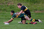 C. Radford is unable to prevent I. Tuifua from scoring 1 of his 2 tries. Counties Manukau Premier club rugby game between Bombay & Pukekohe played at Bombay on the 19th of May 2007. Pukekohe led 24 - 0 at halftime & went on to win 30 - 22.