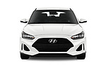 Car photography straight front view of a 2019 Hyundai Veloster Base 3 Door Hatchback