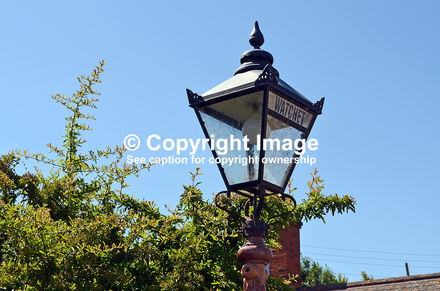 Station light, Watchet Station, West Somerset Railway, UK, July, 2014, 201407093460<br />