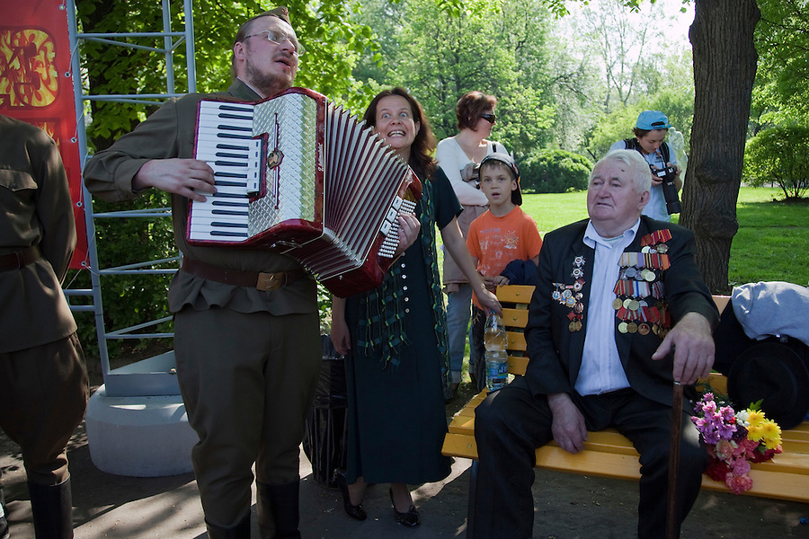 Moscow, Russia, 09/05/2010..Veterans and well-wishers gather in Gorky Park to celebrate Victory Day.