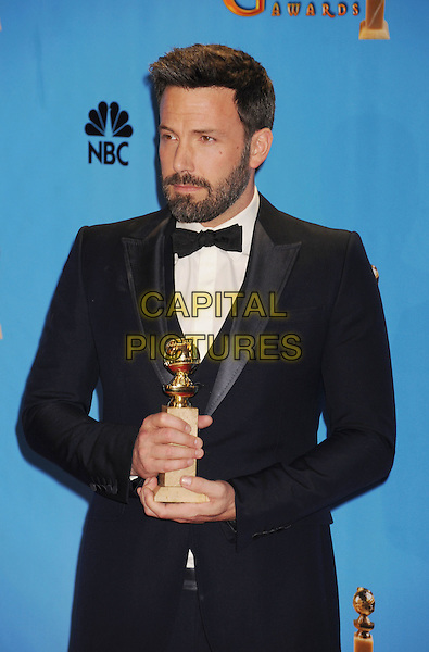 Ben Affleck.Press Room at the 70th Annual Golden Globe Awards held at the Beverly Hilton Hotel, Hollywood, California, USA..January 13th, 2013.globes half length award trophy winner black white bow tie tuxedo beard facial hair .CAP/GAG.©GAG/Capital Pictures
