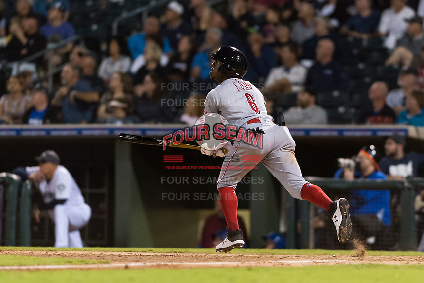 AFL East second baseman Shed Long (6), of the Salt River Rafters and the Cincinnati Reds organization, starts down the first base line during the Arizona Fall League Fall Stars game at Surprise Stadium on November 3, 2018 in Surprise, Arizona. The AFL West defeated the AFL East 7-6 . (Zachary Lucy/Four Seam Images)