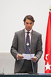 Spanish tennis player Rafael `Rafa´ Nadal receives the Madrid adopted son mention during an official ceremony at Madrid´s city council in Madrid, Spain. (ALTERPHOTOS/Victor Blanco)