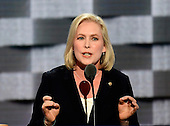 United States Senator Kirsten Gillibrand (Democrat of New York) makes remarks at the 2016 Democratic National Convention at the Wells Fargo Center in Philadelphia, Pennsylvania on Monday, July 25, 2016.<br /> Credit: Ron Sachs / CNP<br /> (RESTRICTION: NO New York or New Jersey Newspapers or newspapers within a 75 mile radius of New York City)