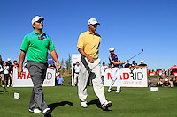 Francesco Molinari (ITA) and Cesar Monasterio (ARG) after teeing off on the 10th tee during Sunday's Final Round of the Bankia Madrid Masters at El Encin Golf Hotel, Madrid, Spain, 9th October 2011 (Photo Eoin Clarke/www.golffile.ie)
