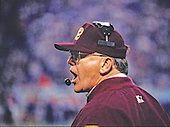 Washington Redskins head coach Joe Gibbs calls signals during Super Bowl XXVI against the Buffalo Bills in Minneapolis, Minnesota on January 26, 1992.  The Redskins won the game and the World Championship 37 - 24.<br /> Credit: Arnie Sachs / CNP