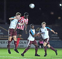 Lincoln City U18's Duncan Idehen vies for possession with South Shieldsy U18's Adam Onarbay<br /> <br /> Photographer Andrew Vaughan/CameraSport<br /> <br /> The FA Youth Cup Second Round - Lincoln City U18 v South Shields U18 - Tuesday 13th November 2018 - Sincil Bank - Lincoln<br />  <br /> World Copyright © 2018 CameraSport. All rights reserved. 43 Linden Ave. Countesthorpe. Leicester. England. LE8 5PG - Tel: +44 (0) 116 277 4147 - admin@camerasport.com - www.camerasport.com