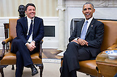 US President Barack Obama (R) and Italian Prime Minister Matteo Renzi (L) talk in the Oval Office after an official arrival ceremony on the South Lawn of the White House in Washington DC, USA, 18 October 2016. Later today President Obama and First Lady Michelle Obama will host their final state dinner featuring celebrity chef Mario Batali and singer Gwen Stefani performing after dinner. <br /> Credit: Shawn Thew / Pool via CNP
