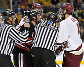 Chris Aughe, Jimmy Hayes (BC - 10), Randy Guzior (Northeastern - 13), Brendan Kelleher, Tommy Cross (BC - 4) - The Boston College Eagles defeated the Northeastern University Huskies 5-4 in their Hockey East Semi-Final on Friday, March 18, 2011, at TD Garden in Boston, Massachusetts.