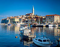 "Croatia, Istria, Rovinj: ""Perl of Istria"" old town and parish church 