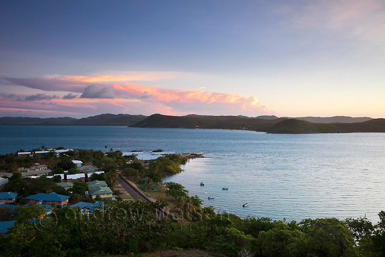 View of Bach Beach with Prince of Wales Island (Muralug) in the background at dusk.  Thursday Island, Torres Strait Islands, Queensland, Australia