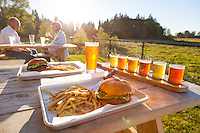 Burgers and beers, Outdoor dining with a view at Ancestry Brewing in Tualatin Oregon