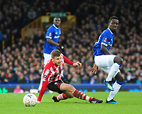 Lincoln City's Michael O'Connor vies for possession with Everton's Idrissa Gueye<br /> <br /> Photographer Andrew Vaughan/CameraSport<br /> <br /> Emirates FA Cup Third Round - Everton v Lincoln City - Saturday 5th January 2019 - Goodison Park - Liverpool<br />  <br /> World Copyright &copy; 2019 CameraSport. All rights reserved. 43 Linden Ave. Countesthorpe. Leicester. England. LE8 5PG - Tel: +44 (0) 116 277 4147 - admin@camerasport.com - www.camerasport.com
