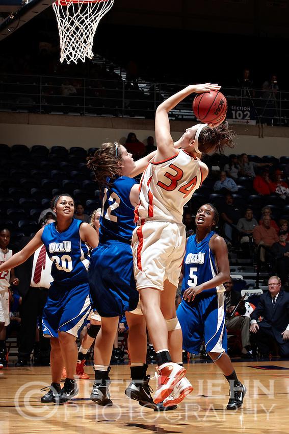 SAN ANTONIO, TX - NOVEMBER 12, 2010: The Our Lady of the Lake University Saints vs. the University of Texas at San Antonio Roadrunners Women's Basketball at the UTSA Convocation Center. (Photo by Jeff Huehn)