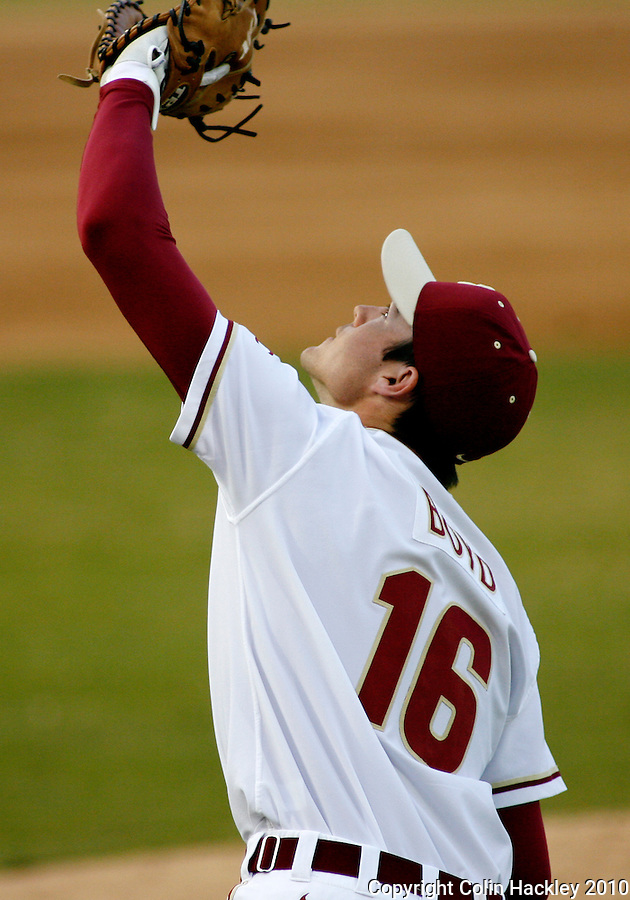 TALLAHASSEE, FL 10-FSU-GA.ST. BASE10 CH23-Florida State's Jayce Boyd keeps his eye on a Georgia State pop up Friday at Dick Howser Stadium in Tallahassee. The Seminoles beat the Panthers 11-3 in the 2010 season opener...COLIN HACKLEY PHOTO