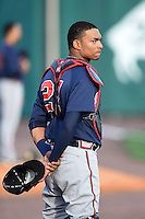 Gwinnett Braves catcher Christian Bethancourt (27) during the national anthem before a game against the Buffalo Bisons on May 13, 2014 at Coca-Cola Field in Buffalo, New  York.  Gwinnett defeated Buffalo 3-2.  (Mike Janes/Four Seam Images)