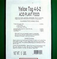 FERTILIZER BAG<br /> Closeup Of The Label<br /> Typical substances in fertilizer are ammonium nitrate, potassium sulfate and ammonium phosphate.