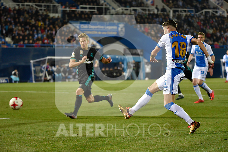 Leganes Jose Naranjo shooting vs Real Madrid during Copa del Rey  match. A quarter of final go. 20180118.