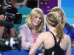Hannah Miley (SCO) is interviewed by the BBC after winning silver in the womens 400m Individual medley. Swimming finals. XXI Commonwealth games. Optus Aquatics Centre. Gold Coast 2018. Queensland. Australia. 05/04/2018. ~ MANDATORY CREDIT Garry Bowden/SIPPA - NO UNAUTHORISED USE - +44 7837 394578