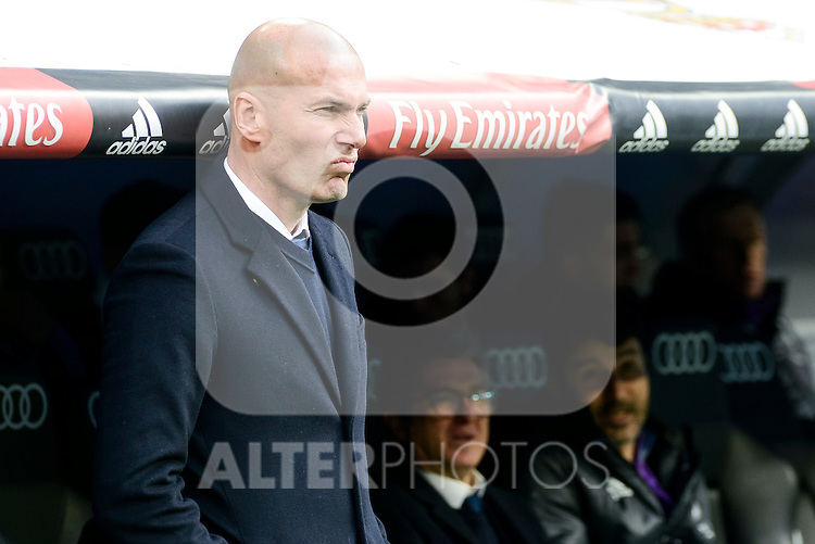 Real Madrid's coach Zinedine Zidane during La Liga match between Real Madrid and Malaga CF at Santiago Bernabeu Stadium in Madrid, Spain. January 21, 2017. (ALTERPHOTOS/BorjaB.Hojas)