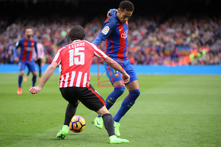 League Santander 2016/2017. Game: 21.<br /> FC Barcelona vs Athletic Club: 3-0.<br /> Lekue vs Neymar Jr.