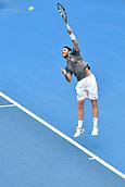 11th January 2018, Sydney Olympic Park Tennis Centre, Sydney, Australia; Sydney International Tennis,quarter final; Adrian Mannarino (ITA) serves in his match against Fabio Fognini (ITA)