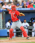 28 February 2011: Washington Nationals' catcher Wilson Ramos in action during a Spring Training game against the New York Mets at Digital Domain Park in Port St. Lucie, Florida. The Nationals defeated the Mets 9-3 in Grapefruit League action. Mandatory Credit: Ed Wolfstein Photo