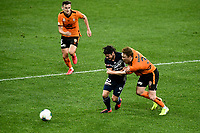 29th July 2020; Bankwest Stadium, Parramatta, New South Wales, Australia; A League Football, Melbourne Victory versus Brisbane Roar; Corey Brown of Brisbane Roar holds onto Marco Rojas of Melbourne Victory