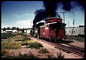Engine 483? with caboose #04343 in Chama.<br /> D&amp;RGW  Chama, NM