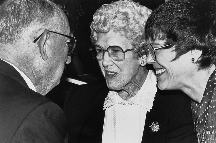 At the Wilbur Mills Memorial Service, Rep. Sam Gibbons, D-Fla. greets Polly Mills (widow of Former Rep. Wilbur Mills, D-Ark.) and Martha Dixon (daugter of Rep. Mills) on Sept. 2, 1992. (Photo by Laura Patterson/CQ Roll Call)
