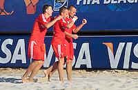 RAVENNA, ITALIA, 10 DE SETEMBRO 2011 - MUNDIAL BEACH SOCCER / EL SALVADOR X RUSSIA - Jogadores da Russia , comemora vitoria em partida contra o El Salvador, válida pela semi-final do Mundial de Futebol de Areia no Estádio Del Mare, em Ravenna, na Itália, neste sábado (10).FOTO: VANESSA CARVALHO - NEWS FREE