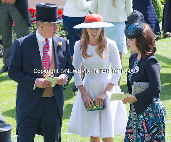 18.06.2015; Ascot, UK: ROYAL ASCOT LADIES DAY 2015 - PRINCESSES BEATRICE AND EUGENIE WITH PRINCE ANDREW<br /> attend Ladies Day of the Royal Ascot Race Meeting.<br /> Mandatory Photo Credit: &copy;Dias/NEWSPIX INTERNATIONAL<br /> <br /> **ALL FEES PAYABLE TO: &quot;NEWSPIX INTERNATIONAL&quot;**<br /> <br /> PHOTO CREDIT MANDATORY!!: NEWSPIX INTERNATIONAL(Failure to credit will incur a surcharge of 100% of reproduction fees)<br /> <br /> IMMEDIATE CONFIRMATION OF USAGE REQUIRED:<br /> Newspix International, 31 Chinnery Hill, Bishop's Stortford, ENGLAND CM23 3PS<br /> Tel:+441279 324672  ; Fax: +441279656877<br /> Mobile:  0777568 1153<br /> e-mail: info@newspixinternational.co.uk