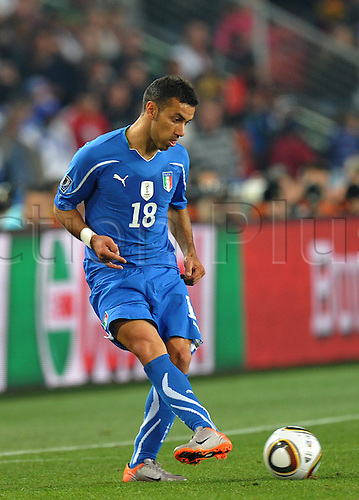 JOHANNESBURG, SOUTH AFRICA - 24 JUNE 2010: Fabio Quagliarella of Italy during Match 41 of the 2010 FIFA World Cup, Slovakia vs Italy which was held at Ellis Park Stadium, Johannesburg, South Africa.
