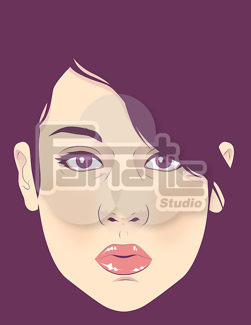 Illustration of trendy woman's face against colored background
