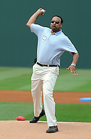 "Spartanburg magistrate court judge Karry Guillory, a colon cancer survivor, throws out the first pitch for colon cancer awareness Sunday at Fluor Field at the West End. It was ""Drive Out Colon Cancer"" day at the Greenville Drive game sponsored by BlueCross BlueShield of South Carolina. The Drive lost to intrastate rival Charleston RiverDogs, 7-5. (Tom Priddy/Four Seam Images)"