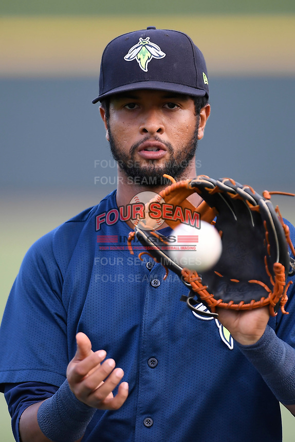 Second baseman Luis Carpio (11) of the Columbia Fireflies warms up before a game against the Charleston RiverDogs on Monday, August 7, 2017, at Spirit Communications Park in Columbia, South Carolina. Columbia won, 6-4. (Tom Priddy/Four Seam Images)
