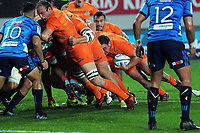 Agustin Creevy looks towards the tryline before opening the Jaguares scoring during the Super Rugby match between the Blues and Jaguares at Eden Park in Auckland, New Zealand on Friday, 28 April 2018. Photo: Dave Lintott / lintottphoto.co.nz