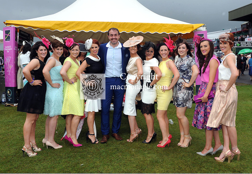 Pictured enjoying the summer fayre on the Ross Hotel / Lane Bar Champagne &amp; Cocktail Marquee at Killarney Races ladies Day on Thursday were from left, Claire Moriarty, Denise Moriarty, Norma Kelly, Aisling O'Donoghue, Diarmuid O'Donoghue, Aileen Moriarty, Norissa O'Donoghue, Aileen Brosnan, Ruth Murphy, Fiona McSweeney and Margaret Moriarty all from Kilcummin.<br /> Picture by Don MacMonagle<br /> <br /> <br /> PR Photo from Ross Hotel