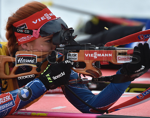 09.03.2016. Holmenkollen, Oslo, Norway. IBU Biathlon World Cup.  Gabriela Soukalova of Czech Republic at the shooting range during zeroing prior the Women 15km Individual competition at the Biathlon World Championships, in the Holmenkollen Ski Arena, Oslo, Norway, 09 March 2016.