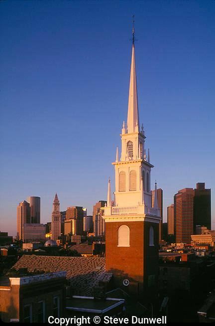 Old North Church steeple skyline, Boston, MA north end