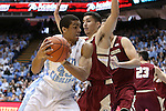 18 January 2014: North Carolina's James Michael McAdoo (43) and Boston College's Lonnie Jackson (right). The University of North Carolina Tar Heels played the Boston College Eagles in an NCAA Division I Men's basketball game at the Dean E. Smith Center in Chapel Hill, North Carolina. UNC won the game 82-71.